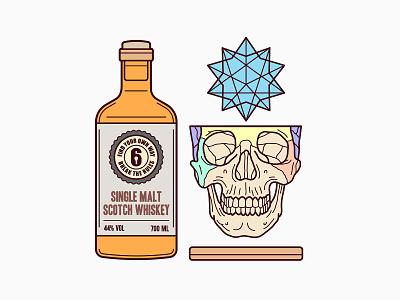 Cube & Skull & Whiskey Illustration key6 art key6art geometry skull whisky popart vectorart drawing digitalart illustration