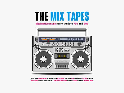 The Mix Tapes key6 art key6art popart 80s 70s retro casette player casette graphicdesign vectorart illustration