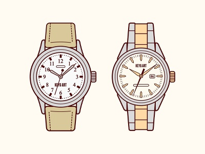 Men's Watches Illustration key6art key6 art vintage menswatch watch graphicdesign vectorart drawing digitalart illustration