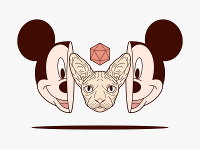 Mickey Mouse & Sphynx Cat Illustration popart key6art key6 art sphynx cat sphynx mickeymouse vectorart vintage graphicdesign drawing digitalart illustration