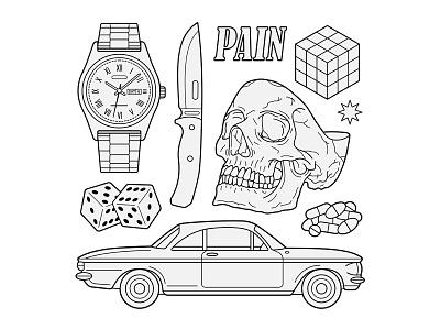 PAIN Tattoo Flash key6 art key6art popart tattoodrawing drawing vectorart illustration skull tattooflash tattoo