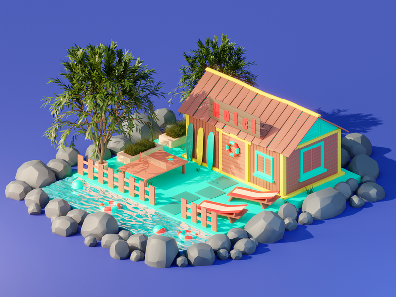 Paradise Island lowpolyart illustration blender3d illustraion isometric lowpoly blender 3dmodeling low poly 3dillustration