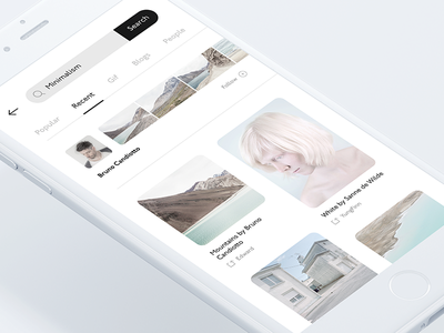 Mobile Blog App — Discover screen minimal white screen search concept app blog