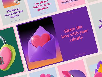 3D Icons Pack - Romance key bumble tinder ui lock love letter letter c4d icon 3d icon presentation illustration design romantic romance love femenine dating date 3d