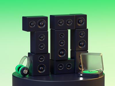 3D Illustration For Music Blog Post 3ddesigns 3dmodeling illustration ui render c4d 3d scene dj turntable headphones speaker music 3d design 3d illustration design 3d