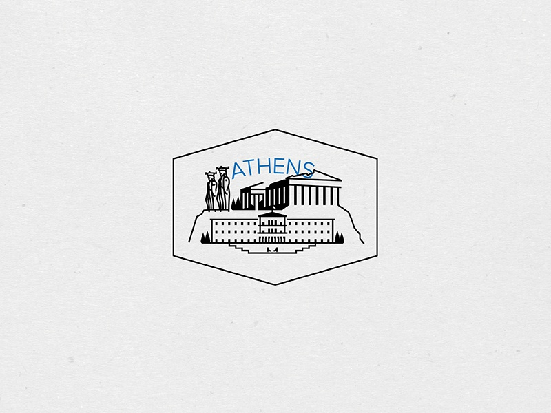 Destination Stamps Series: Athens parliament caryatid acropolis parthenon greece athens stamp illustration icon badge