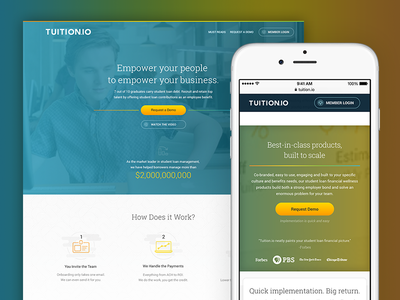 Tuition.Io Homepage rwd student loan management hr sales page landing page tuition