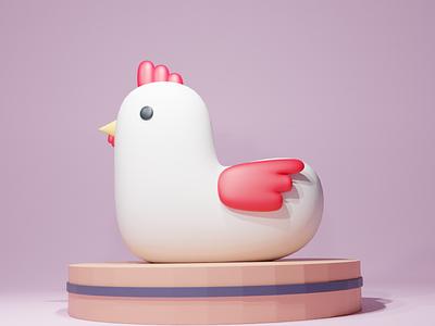 Chick Chick graphic design digital illustration 3d render chicken blender3d blender art 3d design