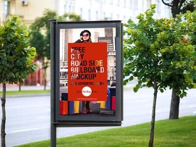 Free City Road Side Billboard Mockup For Advertisement