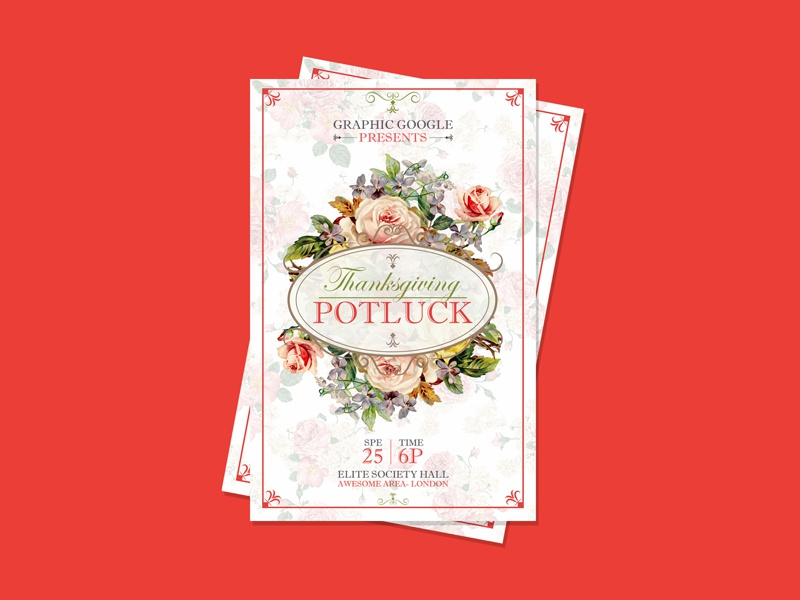 Free Potluck Thanksgiving Flyer Template Design Psd By Ess Kay