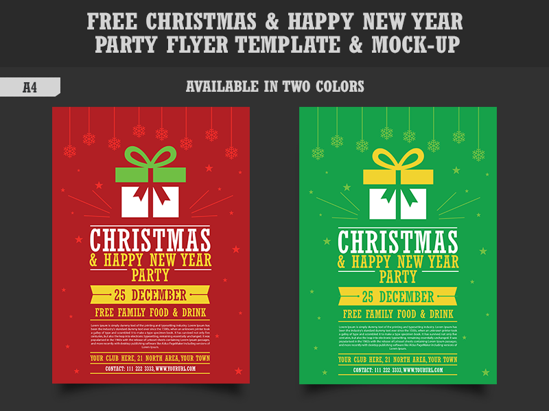 free christmas happy new year party flyer template mock up by