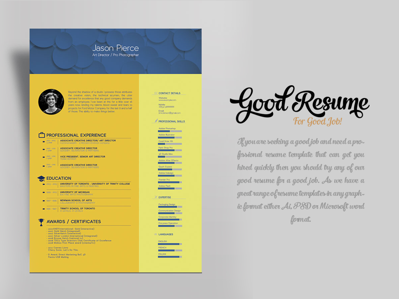 Free Resume Template for Graphic Designer & Art Director cv free resume resume