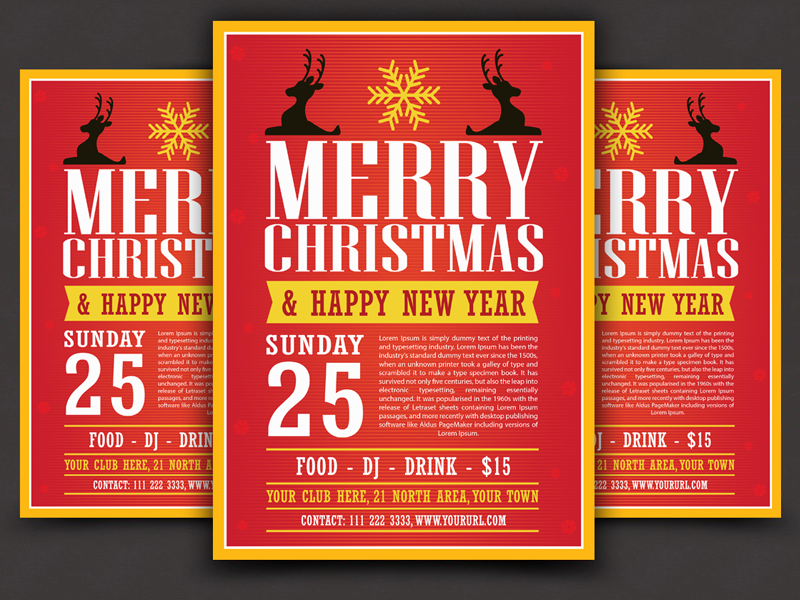 Free Modern Christmas Flyer Template Vector Ai File By Ess Kay