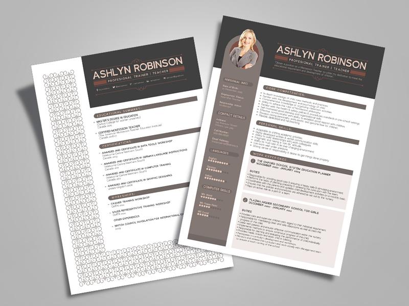 Free Resume - CV Design Template for Trainers & Teachers cv free resume resume