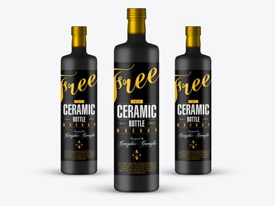 Free Ceramic Bottle Mock-up Psd
