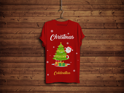Free T-Shirt Mock-up with Hanger & Wooden Background