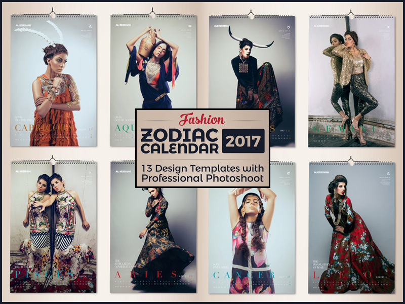 12 Zodiac Signs Fashion Wall Calendar Design Template 2017 By Ess