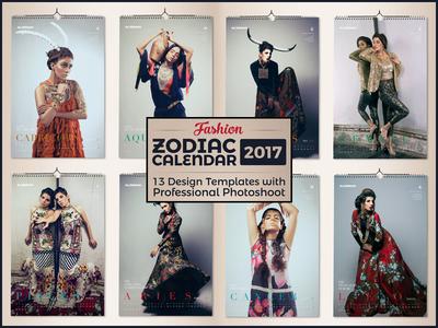 12 Zodiac Signs Fashion Wall Calendar Design Template 2017 by Ess – Zodiac Calendar Template