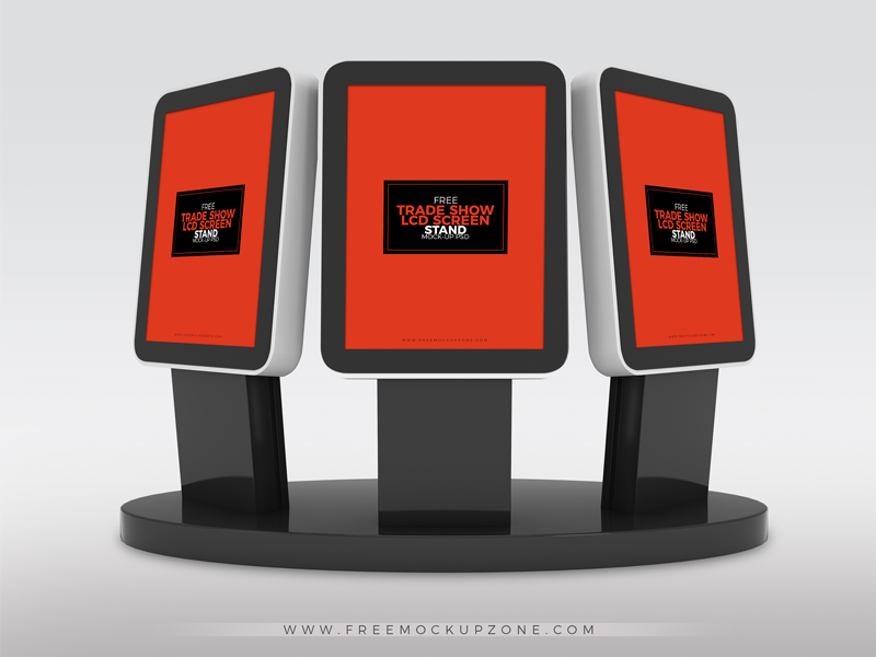 Free Pop Up Exhibition Stand Mockup : Free trade show booth lcd screen stands mock up psd by ess