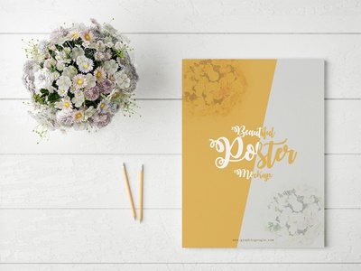 Free Beautiful Poster Mock-Up With Glamour Flowers