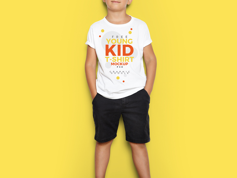 Free Young Kid T-Shirt Mock-Up PSD by Ess Kay | uiconstock