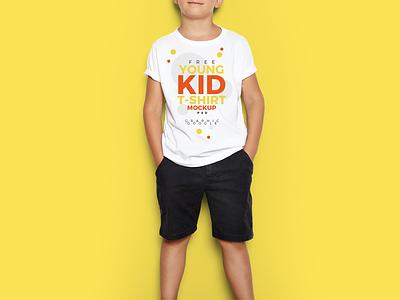 Free Young Kid T-Shirt Mock-Up PSD psd mock-up free mock-up t-shirt mock-up
