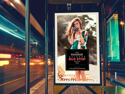 Free Roadside Outdoor Bus Stop Billboard MockUp mock-up free mock-up billboard mock-up