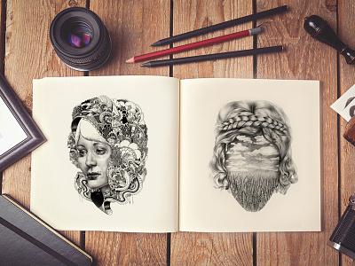 Free Artist Sketch Book MockUp PSD mock-up free mock-up