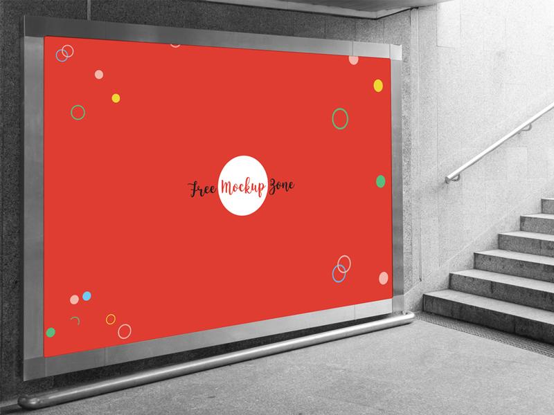 Free Underground Horizontal Billboard Mockup For Advertisement