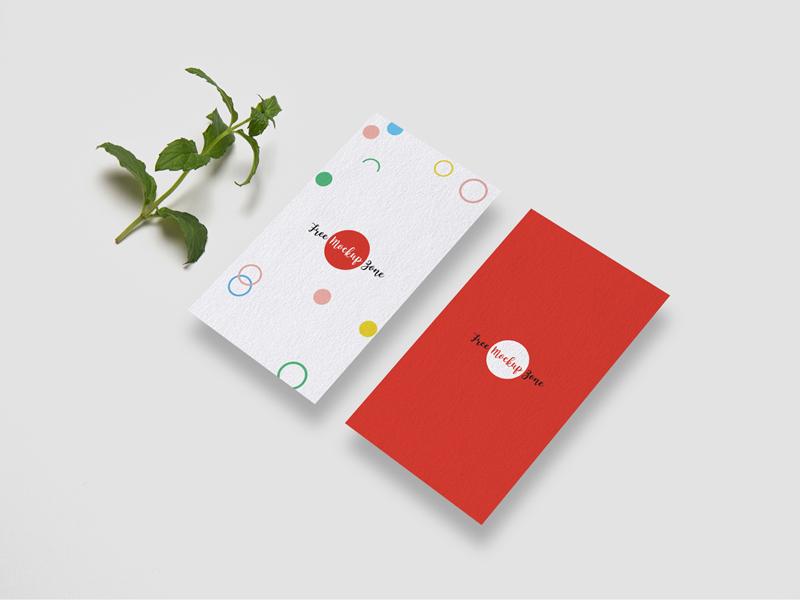 Free Front & Back Vertical Business Card Mockup