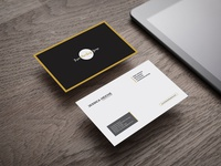 Free Business Card on Wooden Table Mockup