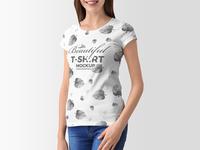 Free Stylish Young Woman T-Shirt Mockup Of 2018