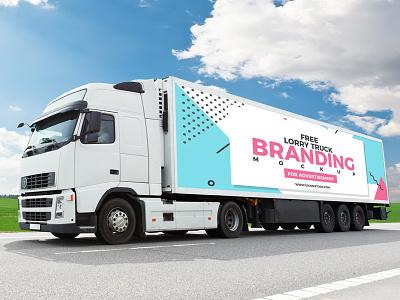 Free Truck Branding Mockup For Advertisement truck advertisement branding freebie template psd free mockup mockup