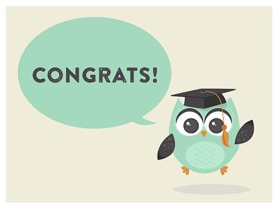 Guru grad card postcard design illustration vector flat owl card