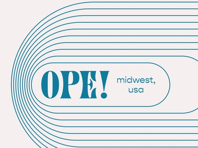 Ope! Sorry illustrator blue silly gopher retro funky font typography oval lines midwest ope