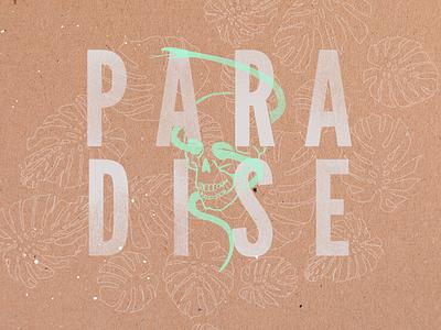Paradise paint green lines skull tropical paradise snake