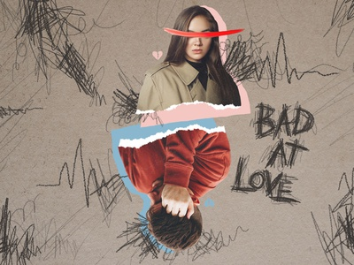 Bad At Love layered ripped paper scribble love bad