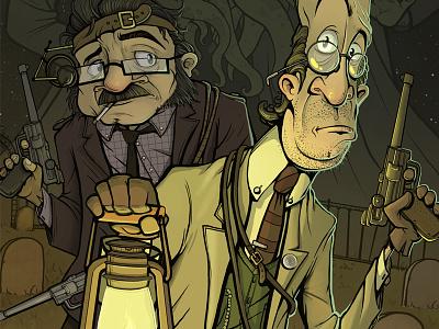 Professor Jasper P. Lillyfoot illustration monster graveyard green horror jasper dave armstrong gun lantern inspector