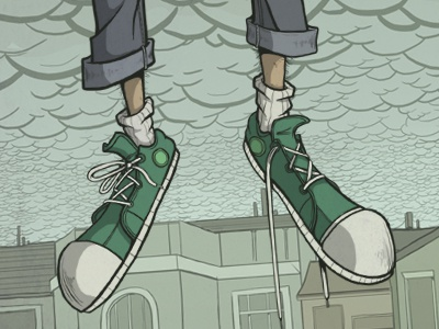 Shoes shoes converse green clouds overcast gray jeans sky buildings skyline rain float fly person illustration