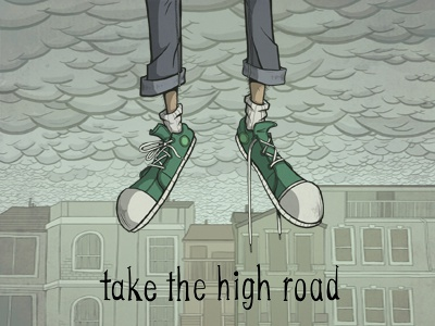 take the high road shoes converse green clouds overcast gray jeans sky buildings skyline rain float fly person illustration