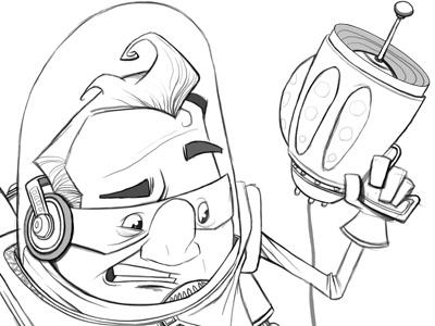 Spaceman space man laser gun helmet illustration sketch linework headphones spaceman dave armstrong