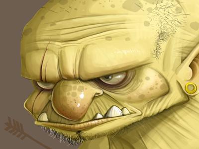 Goblin goblin illustration yellow monster troll ogre snarl teeth scowl dave armstrong