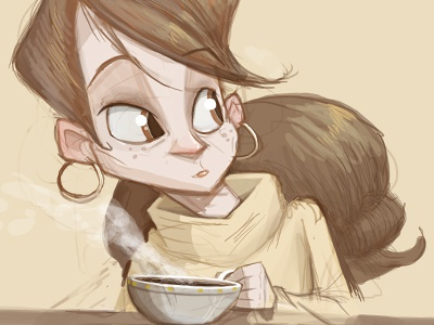 Lady Sketch lady girl coffee woman sketch illustration turtleneck sweater doodle dave armstrong