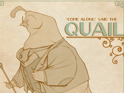 Quail of Queensberry quail linework illustration queensberry brown bird flight dave armstrong suit spats fancy rich