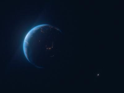 Earth & Moon octane c4d 3d planet space moon earth