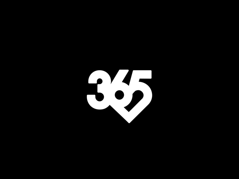 365 Logo love heart numbers mark brand logo 365