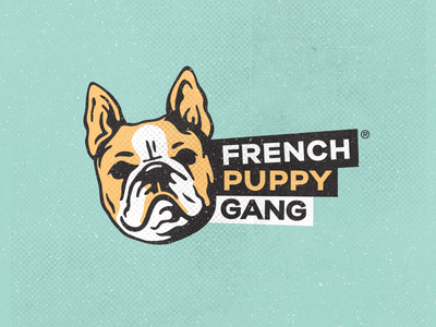 Logo design for French Puppy Gang! dogs dog animal french bulldog branding illustration identity icon design brand logo