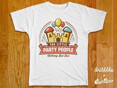 The Little Party People party people logo design retro castle happy vintage baloons stars
