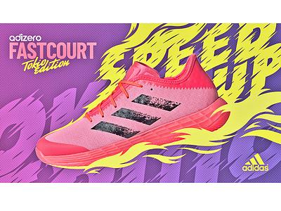 Adidas FastCourt sneakers design adobe photoshop handball sport advertising tokyo fire sneakers adidas branding design