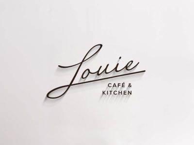 Louie - Cafe & Kitchen restaurant classy simple brand lettering custom logo
